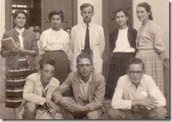 37.- Academia. CMP, Edita, Violeta, don Santiago, Olga, Luz Ma., Walterio, Javier